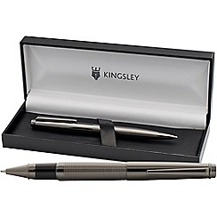 Kingsley - Gunmetal 'Chequer' rollerball/ball pen