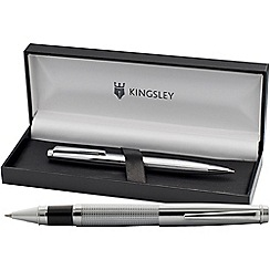 Kingsley - Chrome 'Chequer' rollerball/ball pen