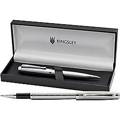 Kingsley - Matt silver 'Mallory' rollerball/ball pen