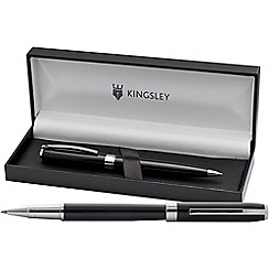 Kingsley - Black 'Ashley' rollerball/ball pen