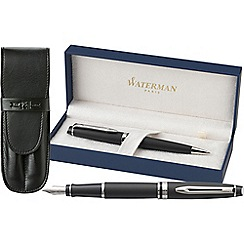 Waterman - Matt Black 'Expert' Fountain & Ball Pen Set + Pouch