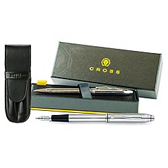 Cross - Chrome 'Townsend' Fountain Pen & Ball Pen Set + Pouch