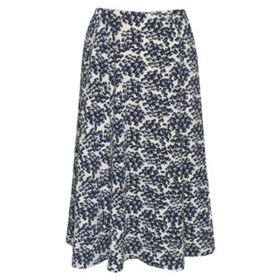 Navy Multi Jersey Brush Stroke Flared Skirt