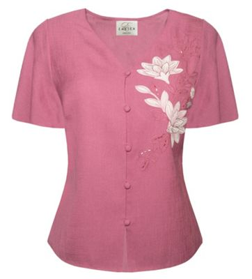 Pink  Multi Placement Appliqu Blouse