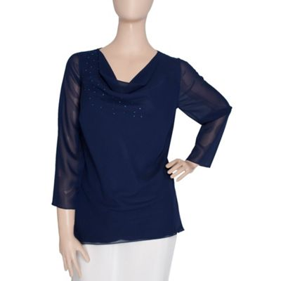 Navy Drop Side Diamante Blouse