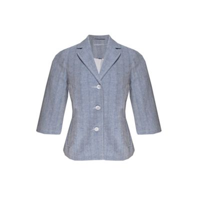 Blue Cross Hatch Linen Blazer