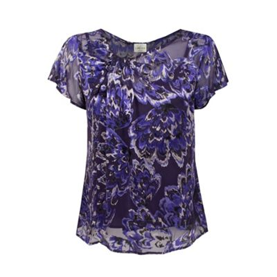 Purple And Silver Silk Burnout Blouse