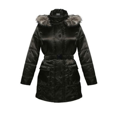 Black Fur Trim Padded Coat