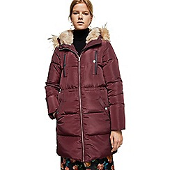 Mango - Wine red 'London' quilted hooded anorak coat