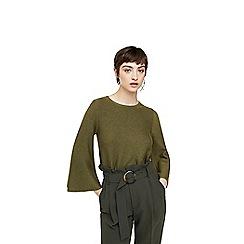 Mango - Green 'Fleare' flared sleeves jumper