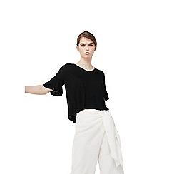 Mango - Black ruffled sleeves sweater