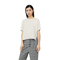 Mango - Grey textured striped sweater
