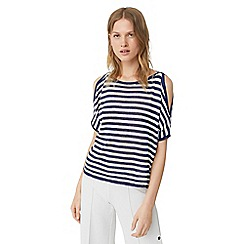 Mango - Navy 'Petra' stripe print cold shoulder sweater