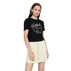 Mango - Black 'Neon' embroidered message t-shirt