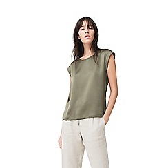 Mango - Khaki green satin panel 'Chem' t-shirt
