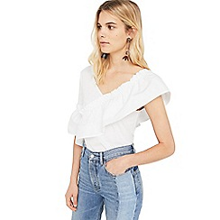 Mango - White 'Bambo' ruffled asymmetric top