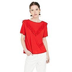 Mango - Red 'Tapas' ruffled t-shirt