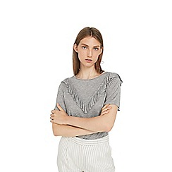 Mango - Grey 'Tapas' ruffled t-shirt