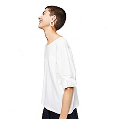Mango - White 'Eleven' ruched sleeves t-shirt