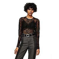Mango - Black mesh 'Sandra' long sleeve top