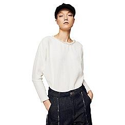 Mango - White embellished 'Clemenza' long sleeves t-shirt