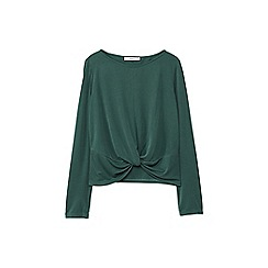 Mango - Green front knot long sleeves top