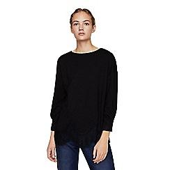 Mango - Black lace trim 'Negra' long sleeve t-shirt