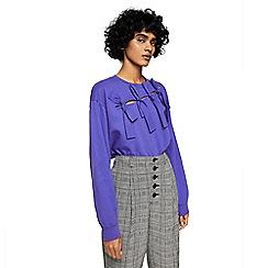 Mango - Purple knotted pure cotton 'Daisy' sweatshirt