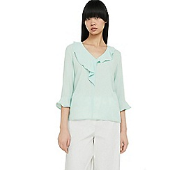 Mango - Green 'Apel' frilled top
