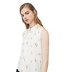 Mango - White 'Paula' flamingo print shirt