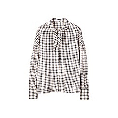 Mango - Brown check print 'Cuad' long sleeves top