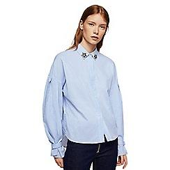 Mango - Blue 'Joya' beaded shirt