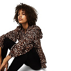 Mango - Brown leopard print 'Pardo' high neck top