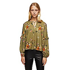 Mango - Khaki floral print frilled v-neck top
