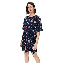 Mango - Navy blue floral print 'Benilun' mini dress