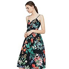 Mango - Black 'Tropic' floral print dress