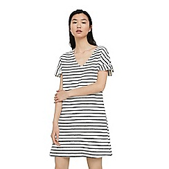 Mango - White 'Liave' stripe print dress