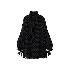 Mango - Black polka dot 'Topus' puffed mini dress