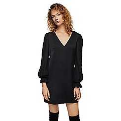 Mango - Black 'Pluma' V-neck long sleeves mini dress