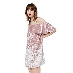Mango - Pink 'Isabella' cold shoulder velvet dress