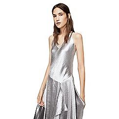 Mango - Silver 'Silvi-I' ruffle metallic dress