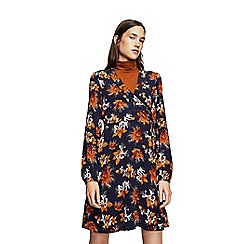 Mango - Navy floral print 'Grullon' mini wrap dress