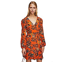 Mango - Orange floral print mini wrap dress