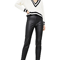 Mango - Black 'Star' faux leather cropped trousers