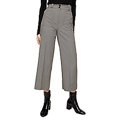 Mango - Brown mini houndstooth print 'Celso' cropped trousers