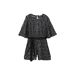 Mango - Black silver mesh playsuit
