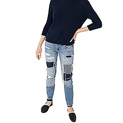 Mango - Blue crystal embellished mid wash 'Strass' ripped jeans