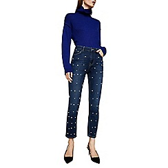 Mango - Blue pearl embellished dark wash straight leg jeans