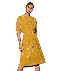 Mango - Mustard 'Catena' chain print skirt