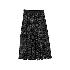 Mango - Black silver mesh cotton blend skirt
